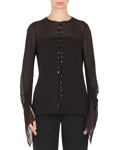 Long-Sleeve Jewel-Neck Silk Georgette Blouse w/ Stone Embellishments