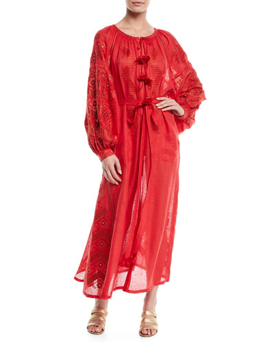 Round-Neck Long-Sleeve Embroidered Linen Maxi Dress