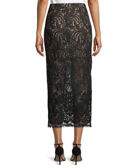High-Waist Lace Pencil Midi Skirt