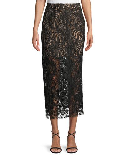 High-Waist Lace Pencil Midi Skirt