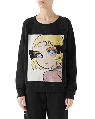 'Viva! Volleyball' Manga Crewneck Cotton Jersey Sweatshirt