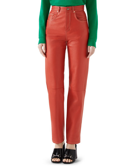High-Waist Straight-Leg Soft Leather Pants in Red