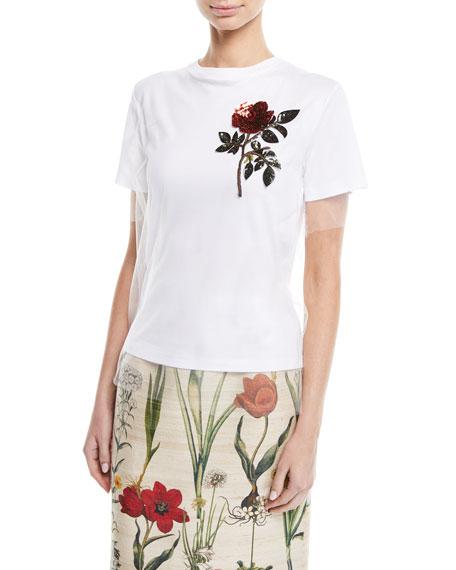 Crewneck Short-Sleeve Tulle Overlay Cotton Tee w/ Sequin Rose