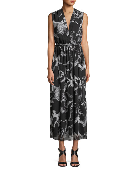 Adam Lippes V-Neck Sleeveless Abstract-Print Long A-Line Dress
