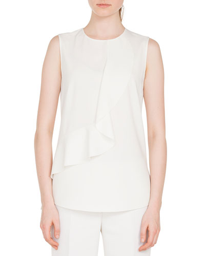 Round-Neck Sleeveless Ruffle-Front Silky Tech Blouse