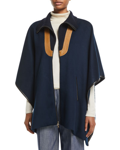 Zip-Front Double-Face Wool Cape w/ Leather Detail