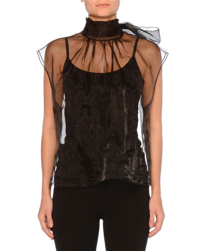 Cap-Sleeve High-Neck Tulle Top