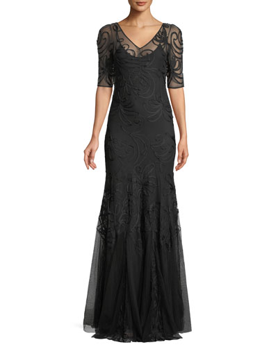 50th Anniversary V-Neck Short-Sleeve Trumpet Embroidered Evening Gown