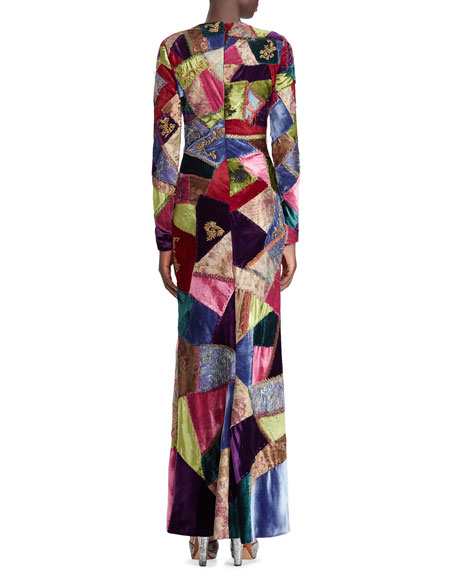 50th Anniversary Hamlin Long-Sleeve Embroidered Patchwork Evening Dress