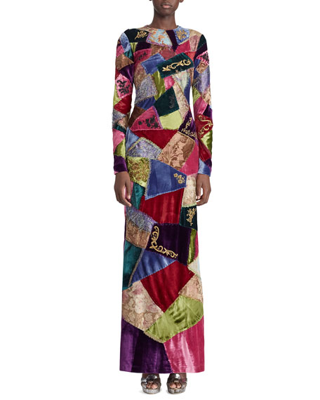 50th Anniversary Hamlin Long-Sleeve Embroidered Patchwork Evening Dress