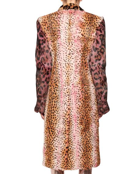 Strong-Shoulder Jaguar & Cheetah Patch Rabbit-Fur Coat