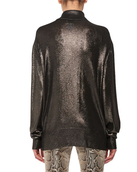 Long-Sleeve Metallic-Knit Silk Turtleneck Sweater