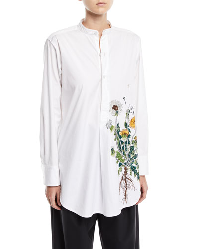 Dandelion-Embroidered Long-Sleeve Boyfriend Blouse