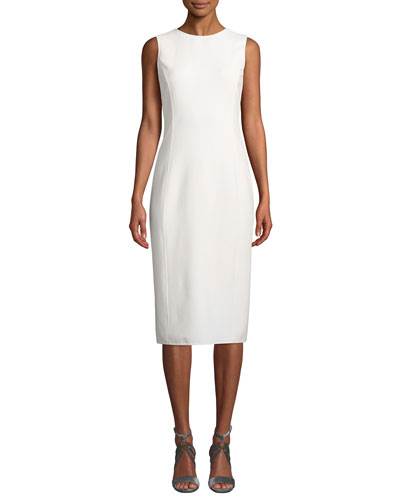 Round-Neck Sleeveless Stretch-Wool Sheath Dress