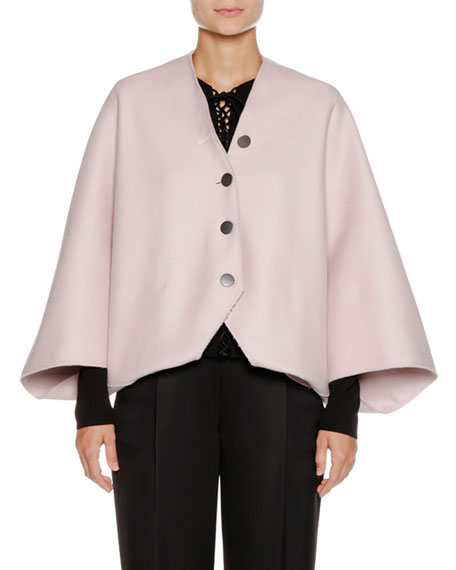 Button-Front Wool-Angora Capelet Jacket
