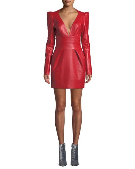 V-Neck Puff-Shoulder Long-Sleeve Napa Leather Mini Dress