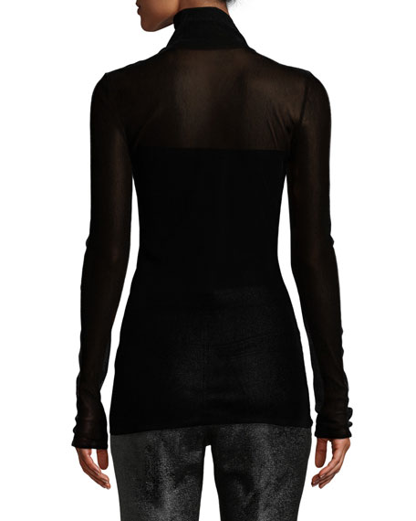 Turtleneck Fitted Semisheer Top