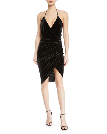 Ruched V-Neck Velvet Halter Dress