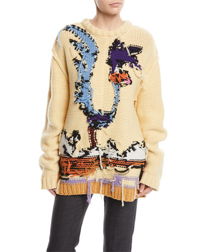 Road Runner Crewneck Inverted-Stitch Wool Sweater