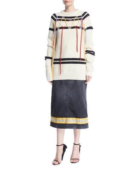 Resin Coated Gabardine A-Line Calf-Length Skirt w/ Fireman Taping