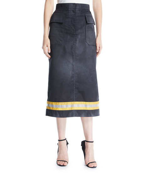 CALVIN KLEIN 205W39NYC Resin Coated Gabardine A-Line Calf-Length