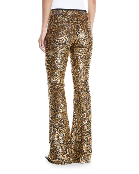 Paisley-Paillette Flared-Leg Pants