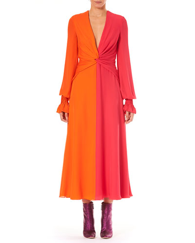 Deep-V Long-Sleeve Colorblocked Silk Long Dress
