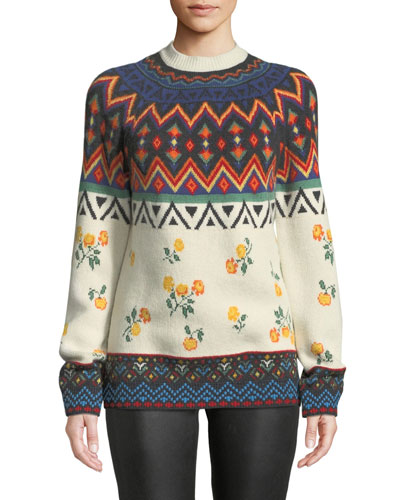 Greenland Jacquard Cashmere Pullover Sweater