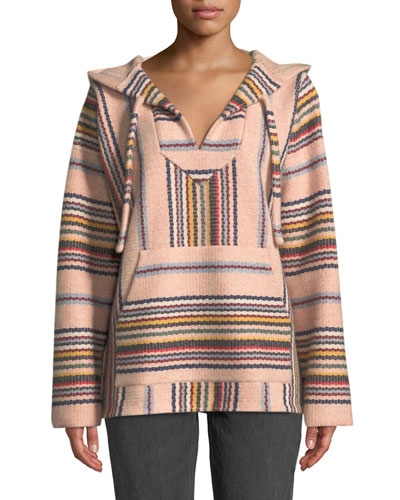 Hooded Baja-Stripe Cashmere Pullover Sweater