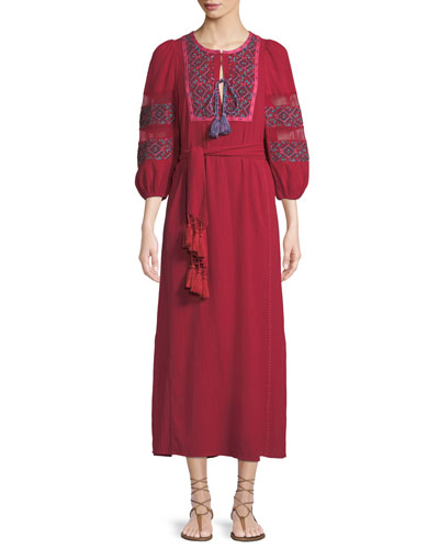 Joni Balloon-Sleeve Embroidered A-Line Dress