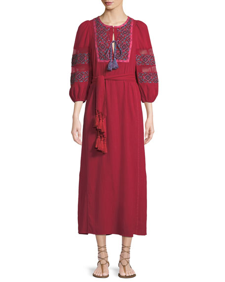 FIGUE JONI BALLOON-SLEEVE EMBROIDERED A-LINE DRESS