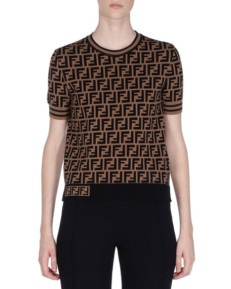 62358197 Fendi Crewneck Short-Sleeve FF Logo T-Shirt