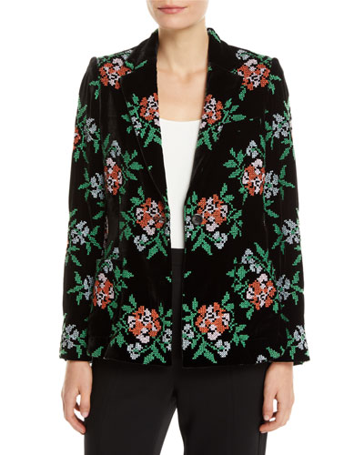 Bronson One-Button Floral-Embroidered Velvet Structured Blazer