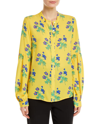 Harlow Button-Front Long-Sleeve Floral-Print Silk Blouse