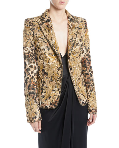 Animal-Print Beaded Jacquard Jacket