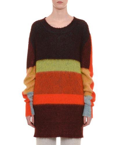 Mohair-Alpaca Blend Crewneck Multicolor Stripe Long Pullover Sweater