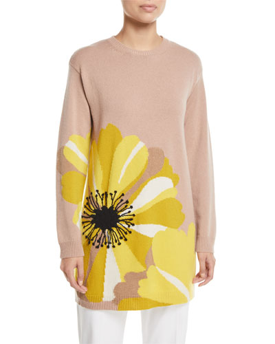 Daisy-Intarsia Crewneck Long-Sleeve Oversized Cashmere Sweater