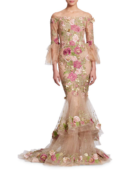 Off-the-Shoulder Bell-Sleeve Tulle Evening Gown with 3-D Floral Appliques