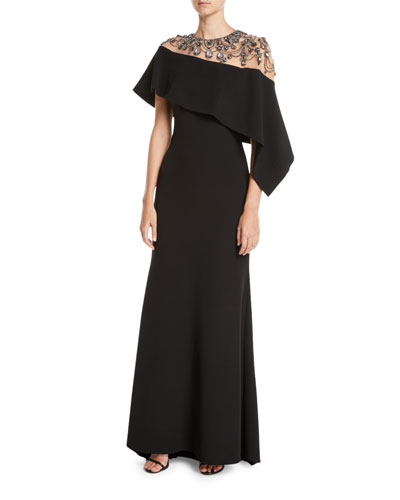 Jewel-Embroidered Asymmetric-Cape A-Line Evening Gown