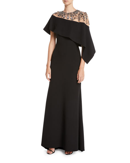 Badgley Mischka Jewel-Embroidered Asymmetric-Cape A-Line Evening Gown