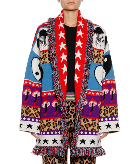 Psychedelic Mushrooms & Star Intarsia Cashmere-Blend Cardigan Sweater