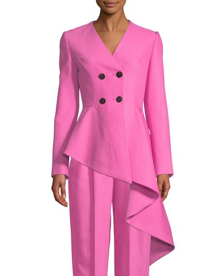 Double-Breasted Asymmetric-Hem Fleece Wool/Silk Jacket
