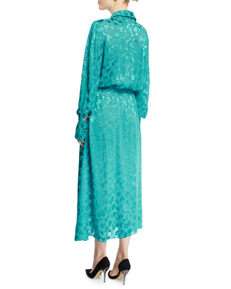 Long-Sleeve Leopard Devoré Button-Front Tea-Length Shirtdress