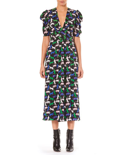 V-Neck Pouf-Sleeve Wildcat Print Georgette Dress