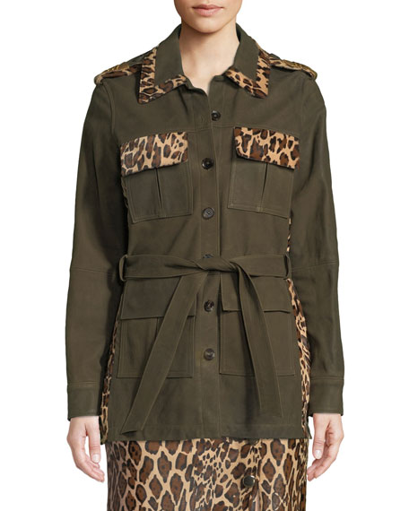 SKIIM BUTTON-FRONT SUEDE MILITARY JACKET W/ LEOPARD CALF HAIR PATCHWORK