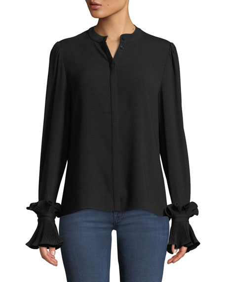 Button-Front Plisse Pleated Cuff Crepe Blouse in Black