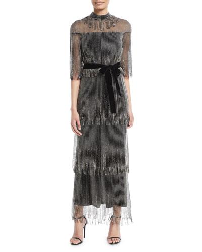 Elbow-Sleeve Tiered Beaded Fringe Cocktail Dress w/ Velvet Belt