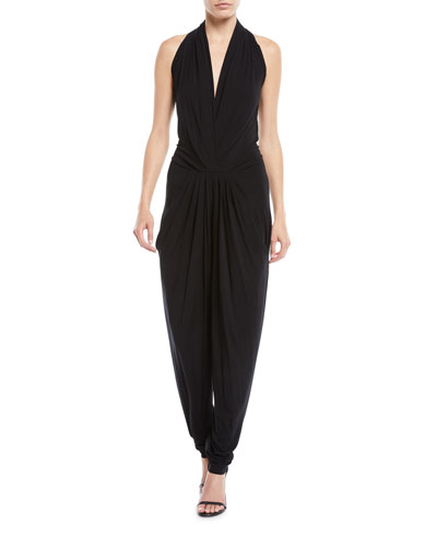 Deep V Sleeveless Tapered-Leg Jumpsuit