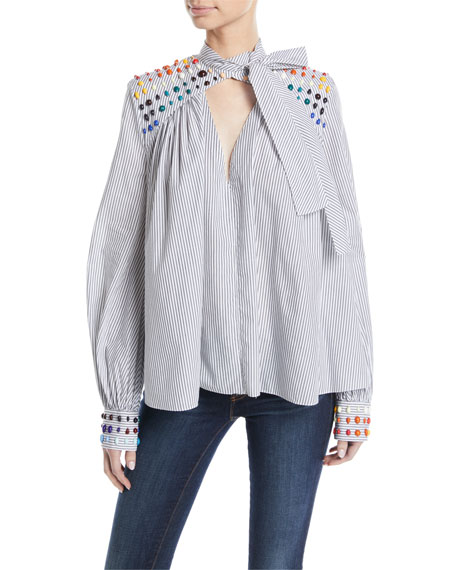 Rosie Assoulin STRIPED BEADING BLOUSE