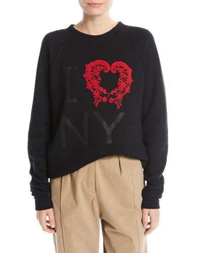 Flocked I Love NY Crewneck Sweatshirt